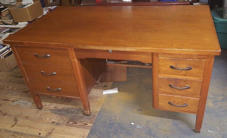 Vintage Solid Wood LEOPOLD Writers, Secretary or Teachers Desk BIG 34'' X 60'' sj