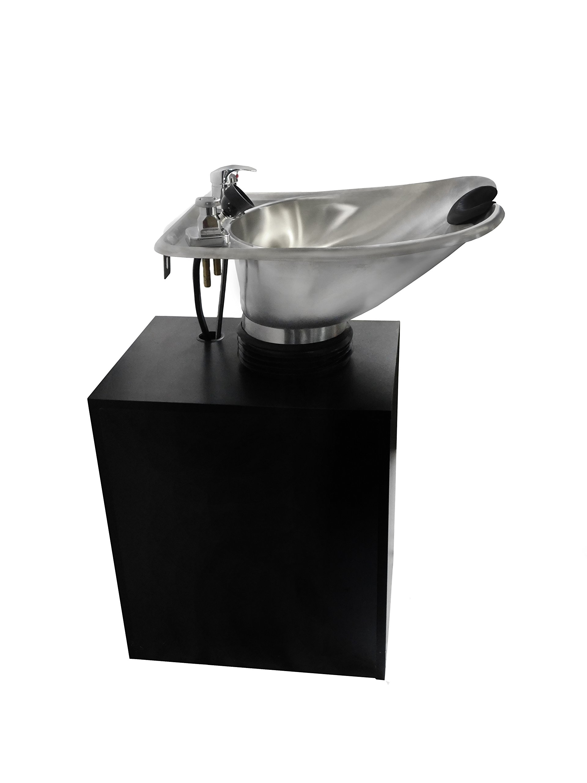 TILTING Brushed Stainless Steel Salon Shampoo Bowl with Black Cabinet Spa Equipment TLC-1567Tilt-C by eMark Beauty (Image #4)