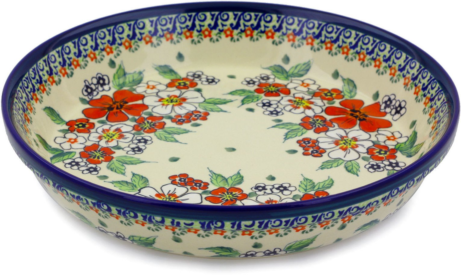 Polish Pottery Pie Dish 10-inch Flower Heaven UNIKAT