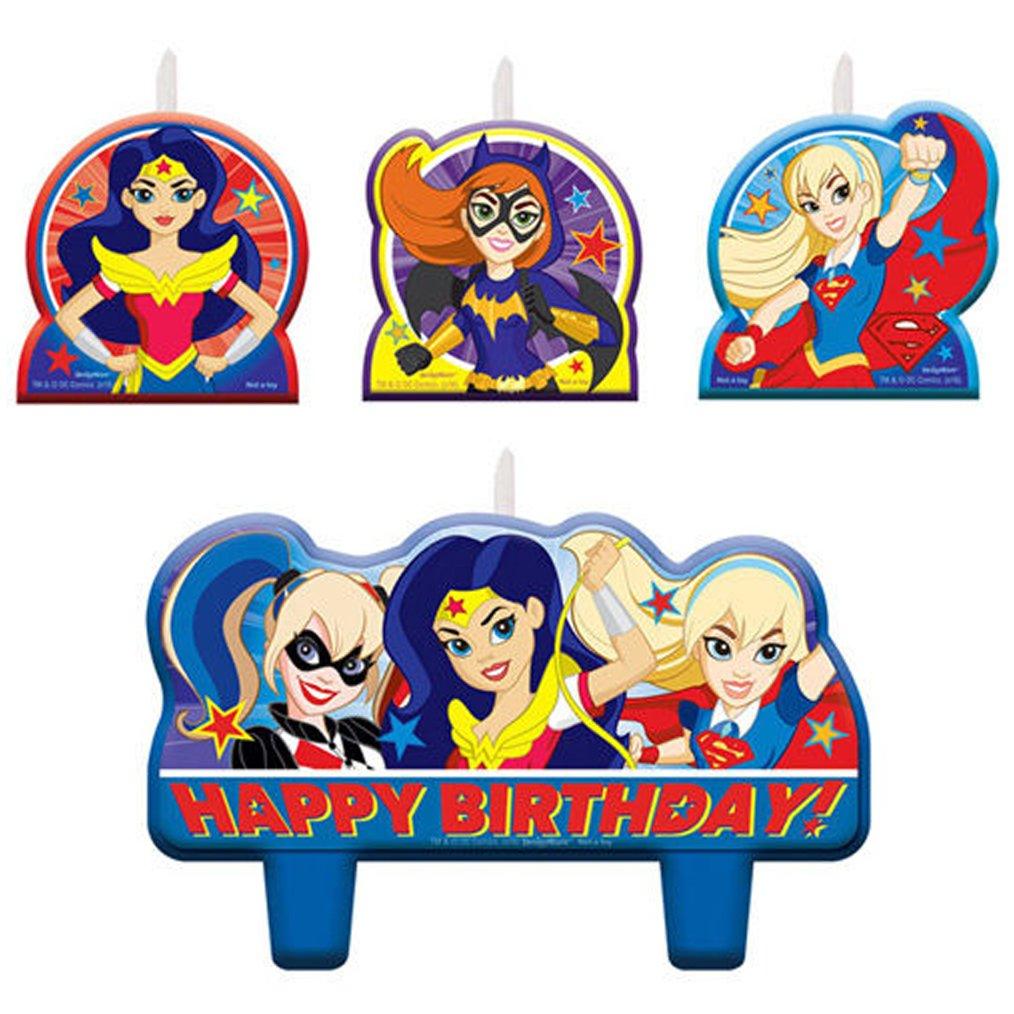DC SUPER HERO GIRLS MINI CANDLE SET 4pc ~ Birthday Party Supplies Decorations Salman Store SG/_B01LKEW3S6/_US