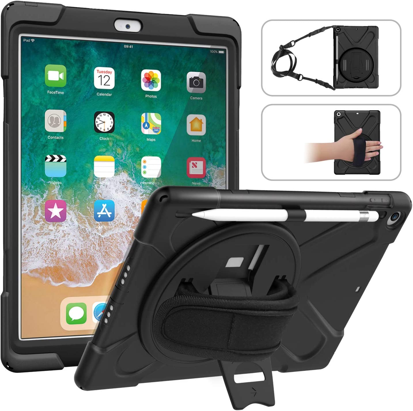 MoKo Fit 2018/2017 iPad 9.7 6th/5th Generation - Shockproof Protection Rugged Protective Heavy Duty iPad Case with 360 Degree Rotate Stand, Hand Strap, Shoulder Strap, Pencil Holder - Black