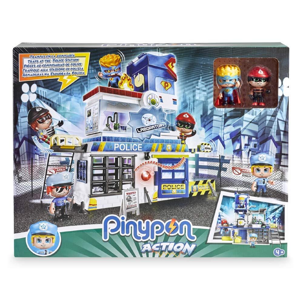 Estaci/ón de polic/ía con 2 Personajes Mix/&Match y Accesorios Giochi Preziosi Pinypon Action