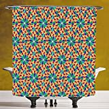 Cool Shower Curtain 3.0 by SCOCICI [ Arabian,Islamic Mosaic Floral Patterns with Geometrical Shapes Old Ethnic Oriental Motifs,Multicolor ] Machine Washable,Shower Hooks are Included