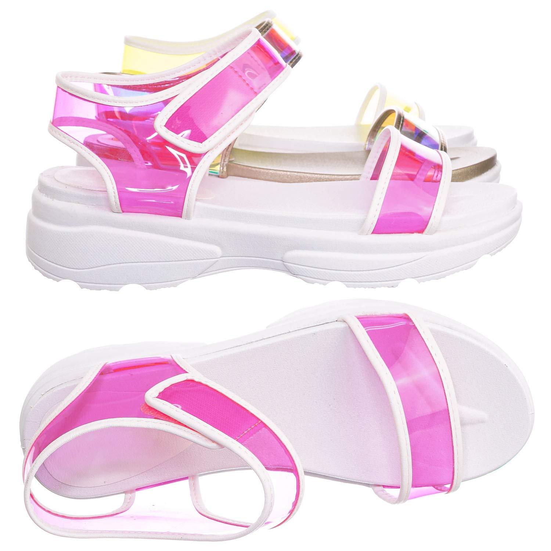 f11d3c8344dbe Amazon.com   Aquapillar Sporty Lucite Clear Sandal - Women Neon ...