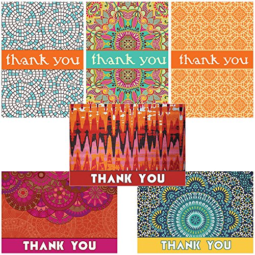 60 Postcards - Global Inspired Thank You - 6 Different Patterns