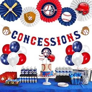 Party Inspo Baseball Birthday Party Decorations Baseball Concessions Birthday Banner, Cake Toppers, Baseball Themed Balloons, Pom Poms, Paper Fans for Baseball Sports Theme Party Decorations Supplies