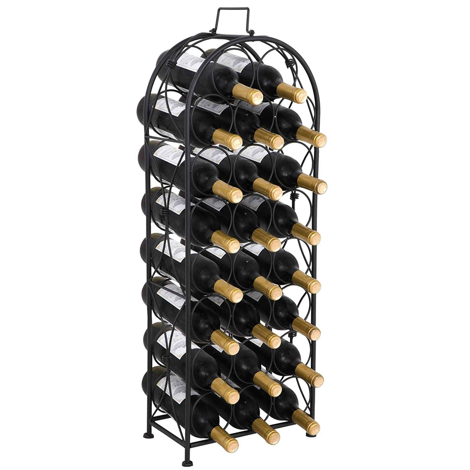 Smartxchoices 16 Bottle Black Finished Table Top Wine Rack with Glass Holder Solid Wrought Iron Floor Free Standing Wine Organizer Rack Cabinet Kitchen …