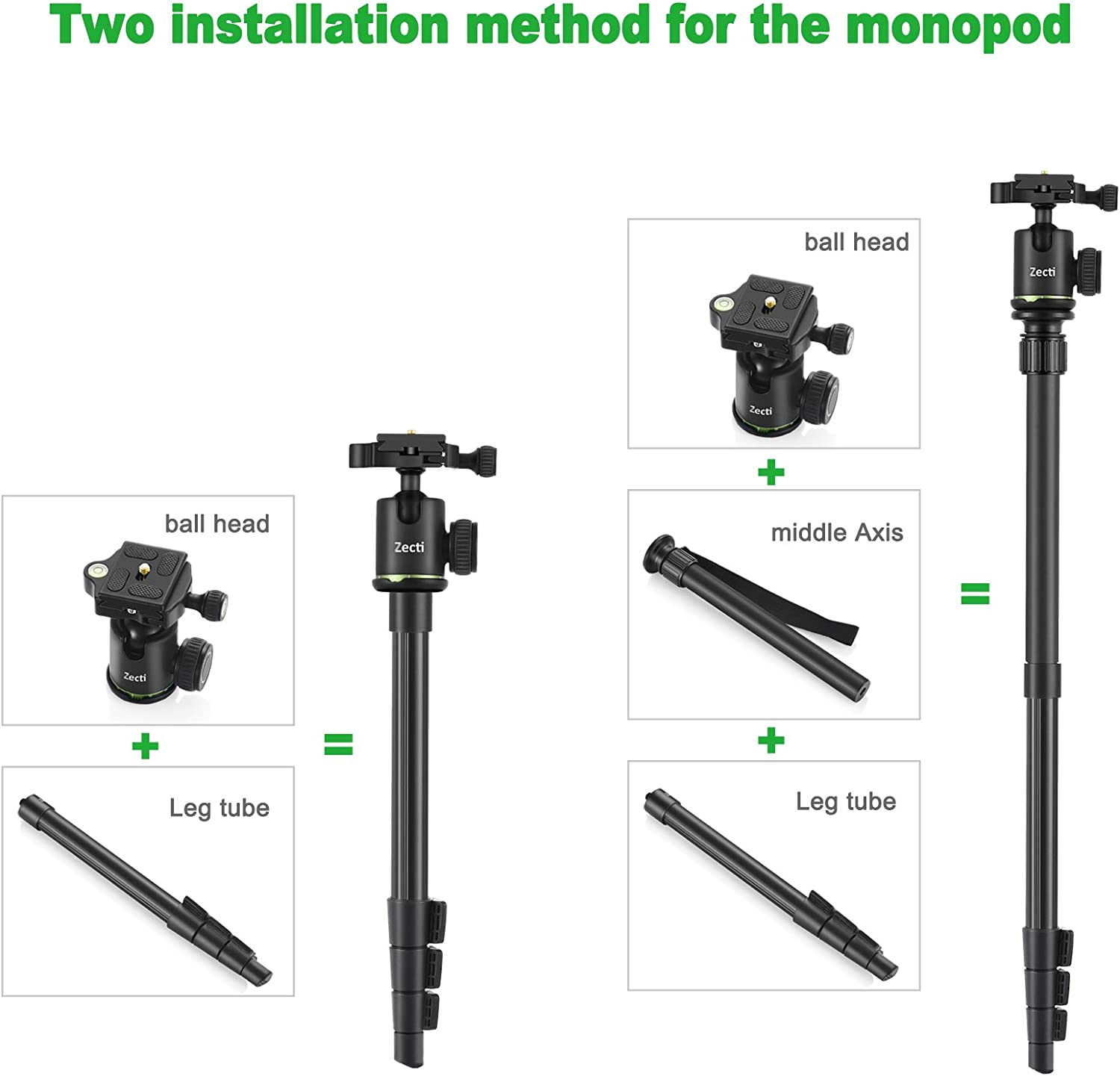 Zecti Camera Tripod 55 Inch Lightweight Aluminum Tripod Monopod with Ball Head and Carry Bag