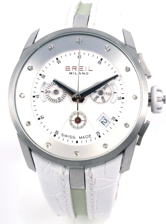 Breil Watch Milano CHR Lady SS Case White Strap Diamonds BW0472 - Reloj de Mujer de Cuarzo, Correa de Piel Color Blanco (con cronómetro)