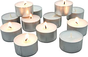 Stonebriar, White, Long Unscented Tea Light Candles, 8 Hour Extended Burn Time, 50 Pack, 50 Count