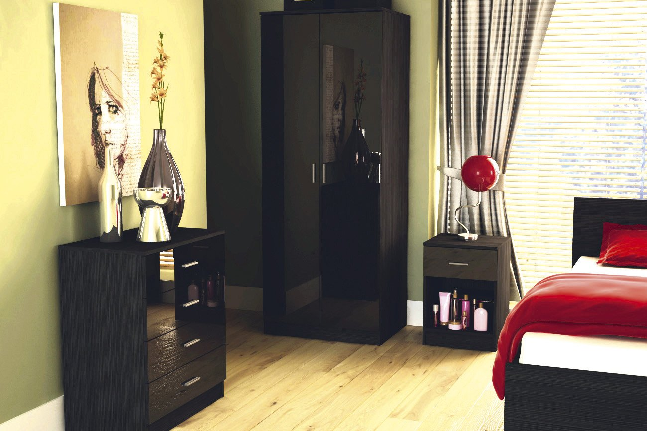 Ottowa Black Ultra High Gloss Two Tone 3 Piece Trio Bedroom Wardrobe, Bedside, Chest Darwers bb-2