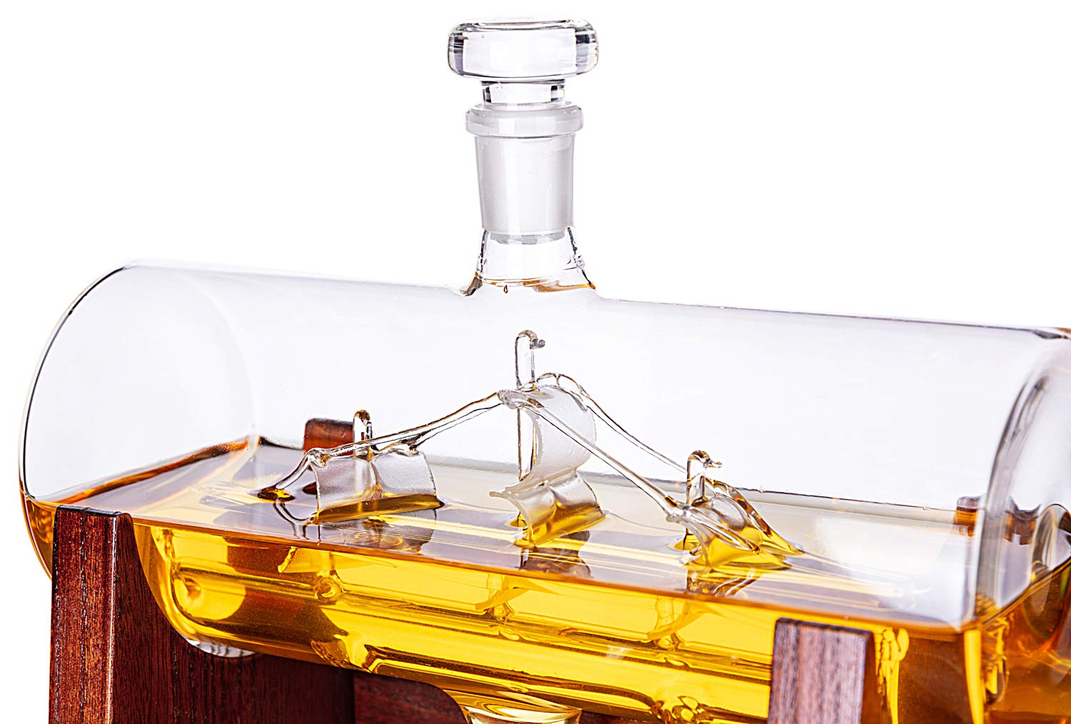 Jillmo Whiskey Decanter Set with 2 Glasses - 1250ml & 42 oz Lead Free Barrel Ship Dispenser with Detachable Wooden Holder Gift for Liquor, Scotch, Bourbon, Vodka, Whisky, Rum & Alcohol by Jillmo (Image #3)