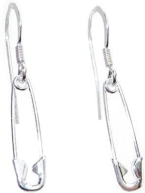 Sicherheitsnadel Ohrringe aus 925er Sterlingsilber, 1 Paar Safetypin Pins