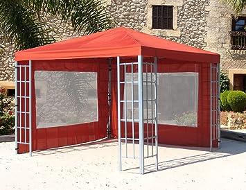 2 Seitenteile mit PVC Fenster zu  Aluoptik Pavillon 3x4m Terrakotta