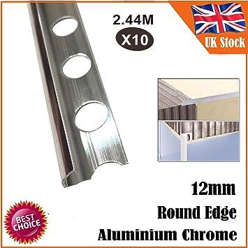 Tapacubos de aluminio de 12 mm con borde redondo, acabado cromado brillante, 2,