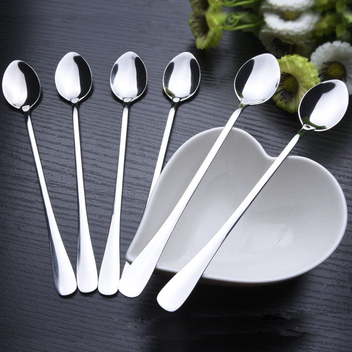 Stainless Steel Latte Sugar Spoons for Ice Cream Sundae Coffee Colorful 6