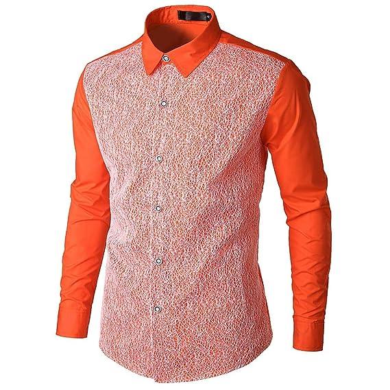 Yvelands Camisa de Encaje de Hombre, Camisa de Manga Larga de Corte Slim Casual de la Moda de los Hombres, ¡Ofertas: Amazon.es: Ropa y accesorios