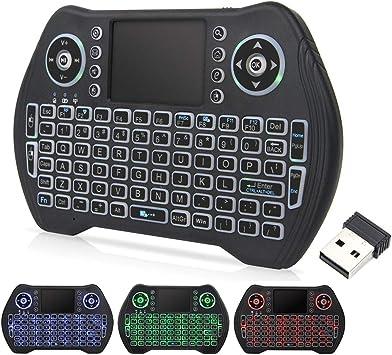 T95 Mini teclado inalámbrico de 2,4 GHz con panel táctil, mini teclado iluminado para Android TV Box, PC, HTPC, PS3, Xbox, Mac Linux Windows.