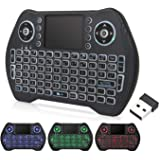 Backlit Mini Wireless Keyboard with Touchpad Mouse Combo, Rechargable Li-ion Battery & Multi-Media Handheld Remote for…