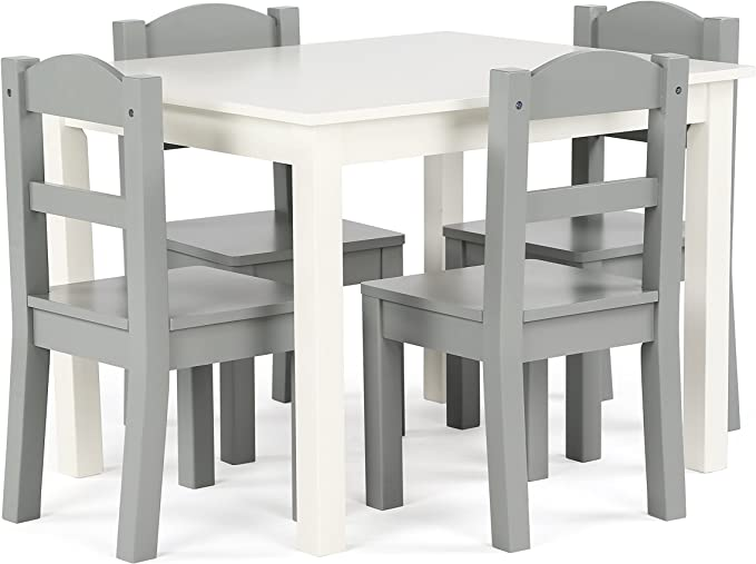Humble Crew Kids Wood Table & 4 Chairs Set, White/Grey