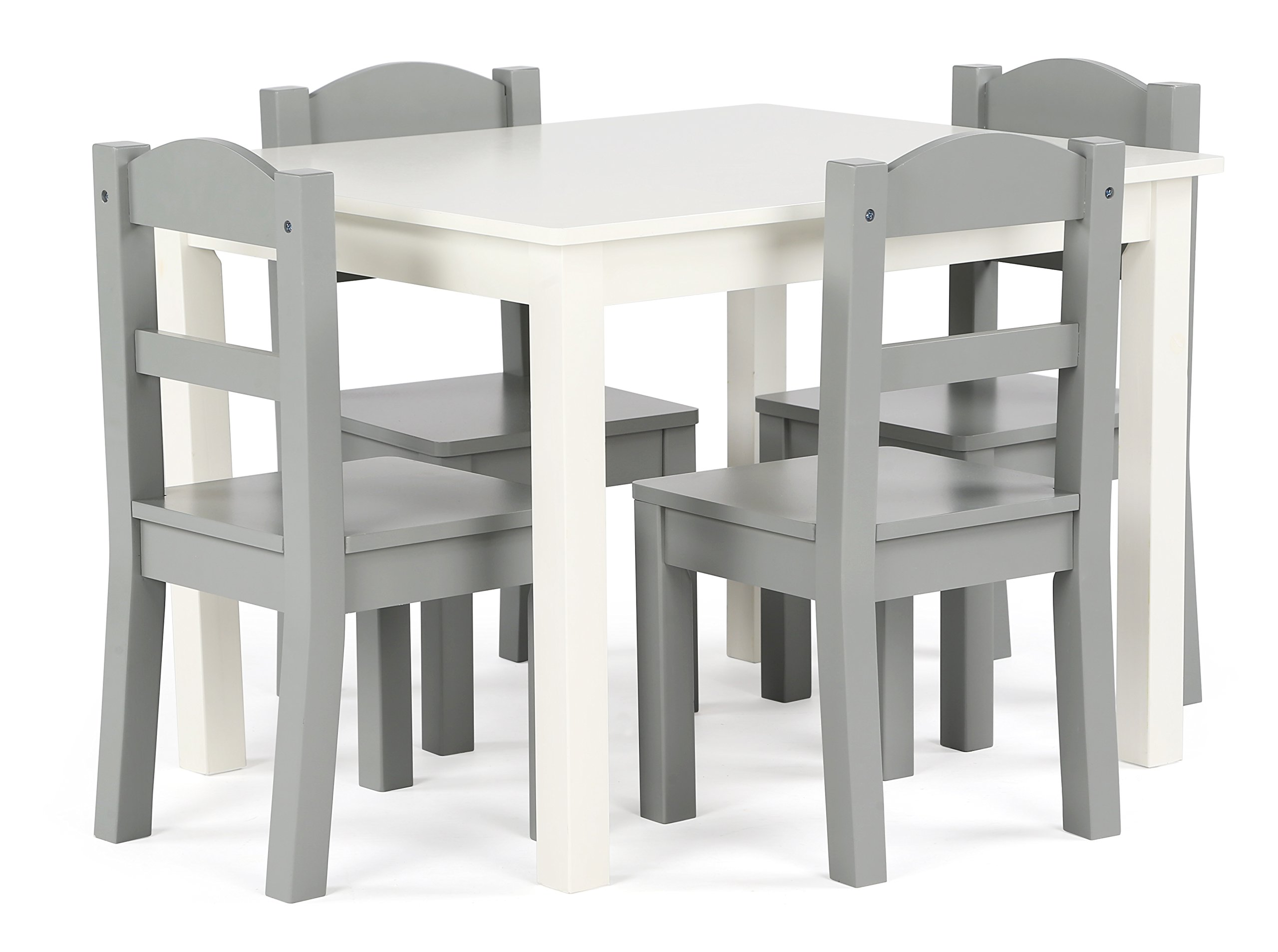 Tot Tutors TC534 Springfield Collection Kids Wood Table & 4 Chair Set, White/Grey by Tot Tutors