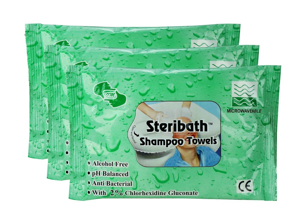 Om Shampoo Towels -No Water & Rinsing Required -30 Pcs (pack of 3) (Green)