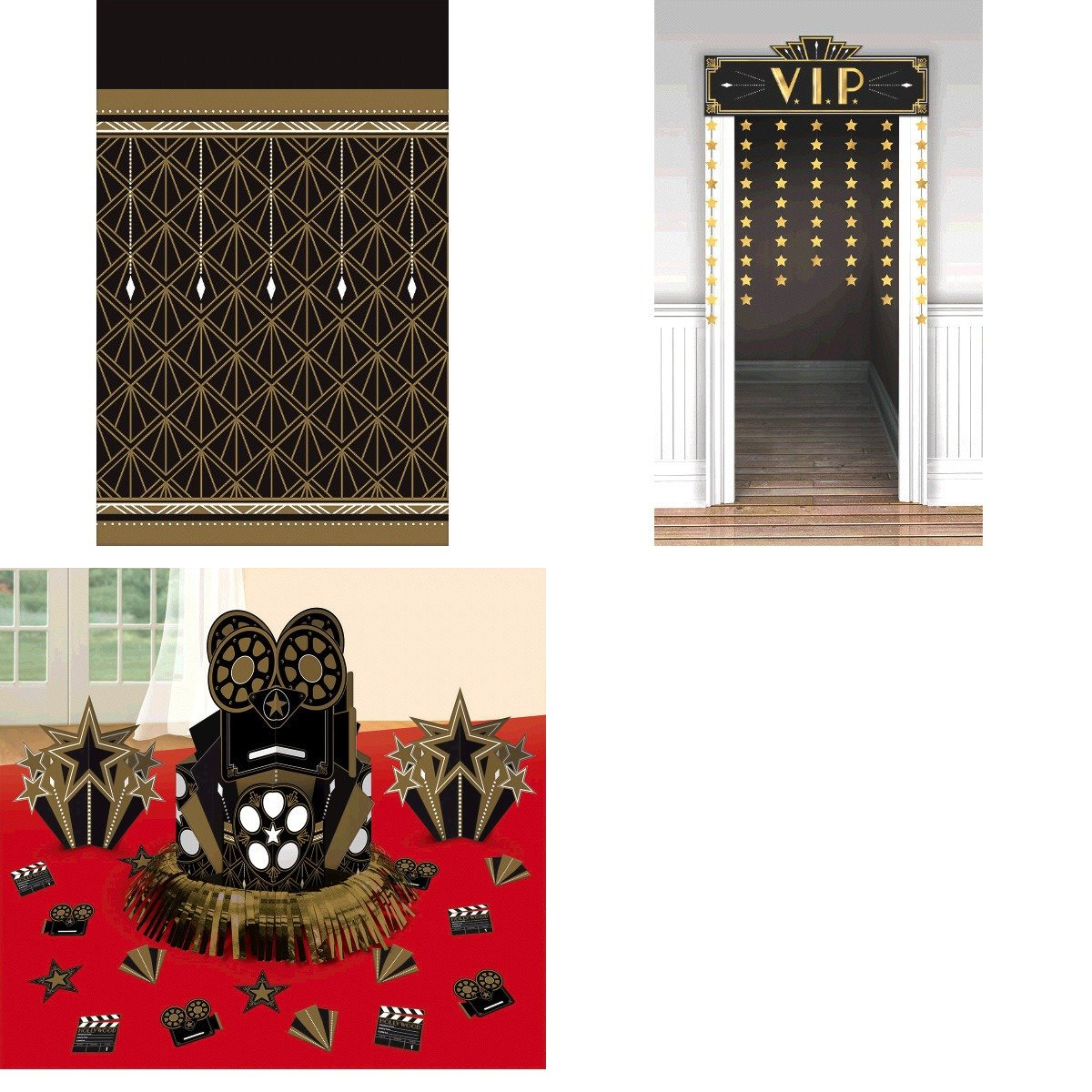 Amscan Glitz and Glam Movie Awards Night Hollywood Themed Party Supply Table and Door Décor Kit