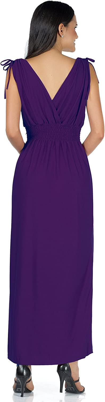 Mia Suri Summer Ladies Floral Print Beach Casual Holiday Maxi Day Dress Plain Purple