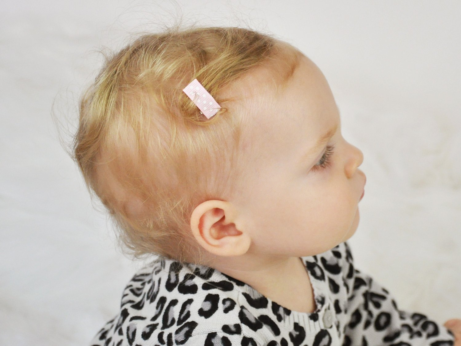 Baby Wisp 12 Mini Hair Clips Patterned Ribbon Baby Girls Infant Fine Hair Accessory Collection by Baby Wisp (Image #3)