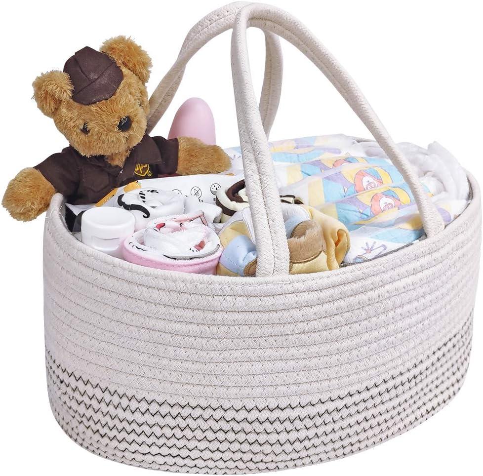Cesta de Almacenamiento para Pañales de Bebé, Cuerda de algodón tejida Portátil Cesta para Madre Niño pequeño Cajas para pañales con Separador Desmontable