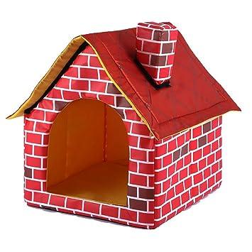 EASTVAPS caseta de Perro para Perro Pequeño (casa Rojo con Chimenea) 39 x 41 x 44 cm: Amazon.es: Productos para mascotas