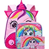 """Unicorn Backpack Girls, 12"""" Toddler Backpacks and Lunch Box Set"""