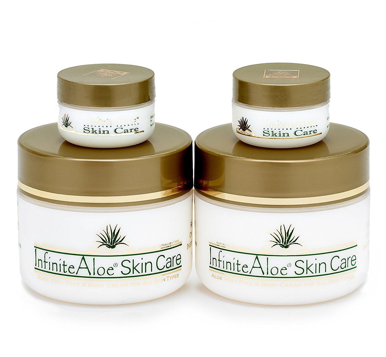 Infinite Aloe Skin Care Cream, Original Scent, 2-8oz Jars (Plus 2 Bonus 0.5 oz InfiniteAloe Travel Jars)