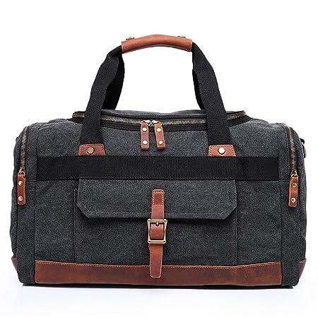 2f9dbacb7de YuHan Large Capacity Canvas Travel Duffel Bag Leather Shoulder Bag Outdoor  Weekend Overnight Holdall Bag Black  Amazon.co.uk  Luggage