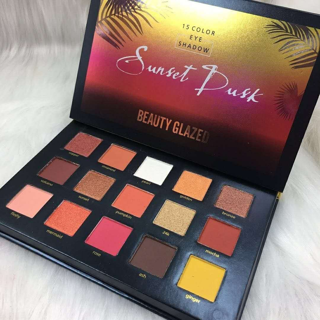 New Beauty Glazed 15 Colors Long Lasting Sunset Dusk Eyeshadow Palette Collection (15 Colors Sunset Dusk)