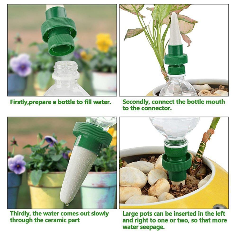 Automatic Potted Flower Tree and Drip Irrigation Watering Stakes Devices for Indoor/&Outdoor Use Aolvo Vacation Plant Waterer Set of 4 Ceramic Self Plant Watering Spikes for Plastic Bottles