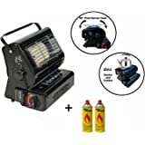 NJ Portable 2in1 Camping Gas Heater Cooker Butane 1.3kW Outdoor Fishing + Butane Canisters