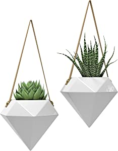 "Geometric Ceramic Hanging Planters | Set of 2 | Modern Indoor & Outdoor Home Wall Planter | Hanging Succulent Pots Herbs Air Plants Holder Wall Decor (W:5.90"" H:5.10"") (White & Gray)"