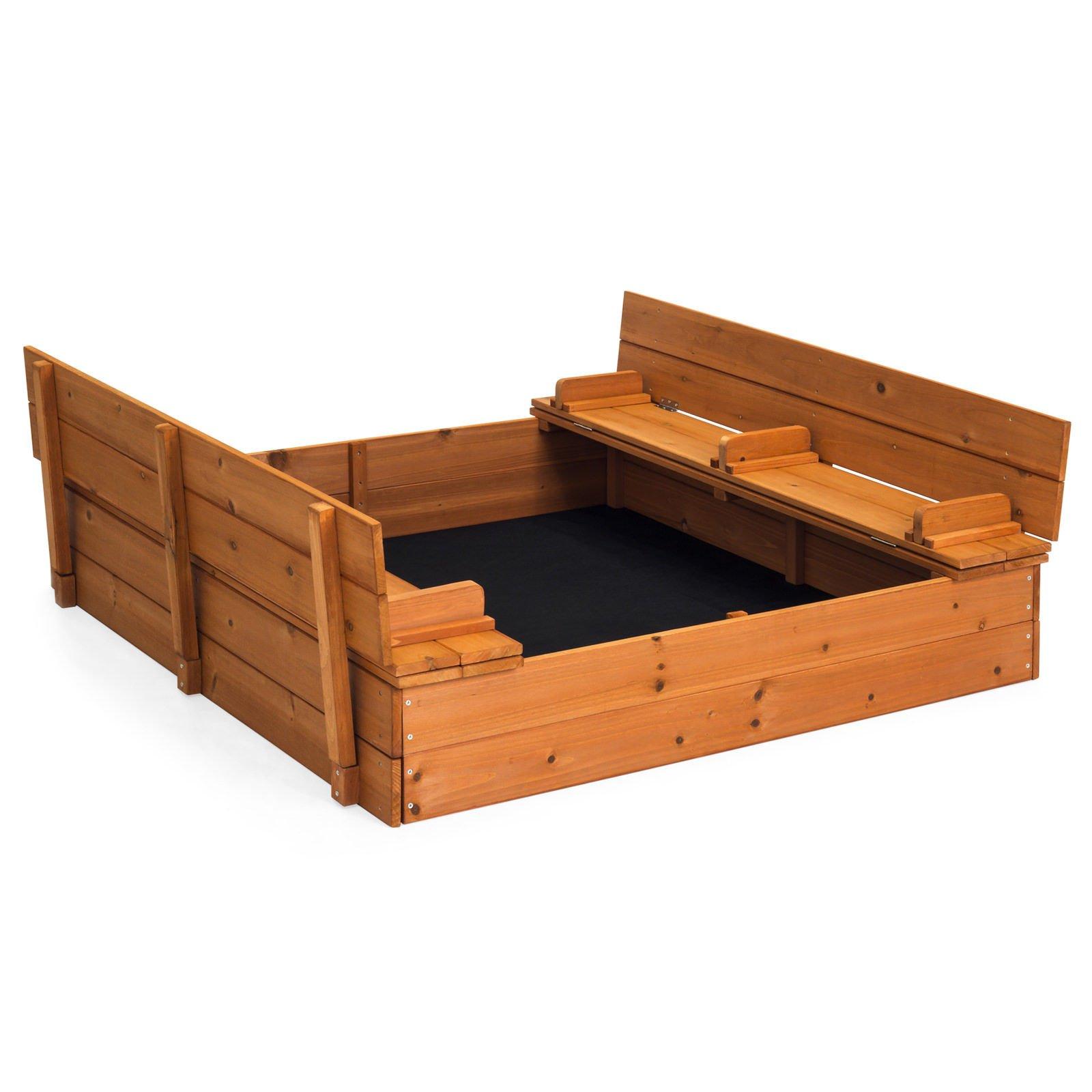 Marketworldcup- 47x47in Large Cedar Sandbox w/2 Bench Seats