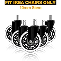 Office Chair Wheels for IKEA Chair Only with 10mm Stem, Heavy Duty Rubber Caster Wheels Roll Smooth, 5 Pack Wheels with…