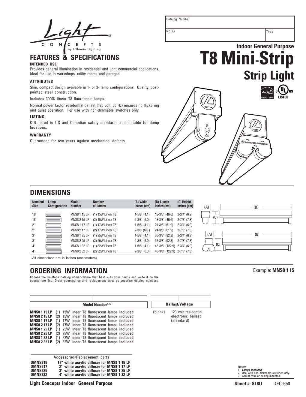 Lithonia Lighting Mns8 1 17 120 Re Light T8 Mini Strip For Ballast Wiring Diagram On T12 Mag Ic T5 Residential Use 2 Feet Fluorescent Tubes