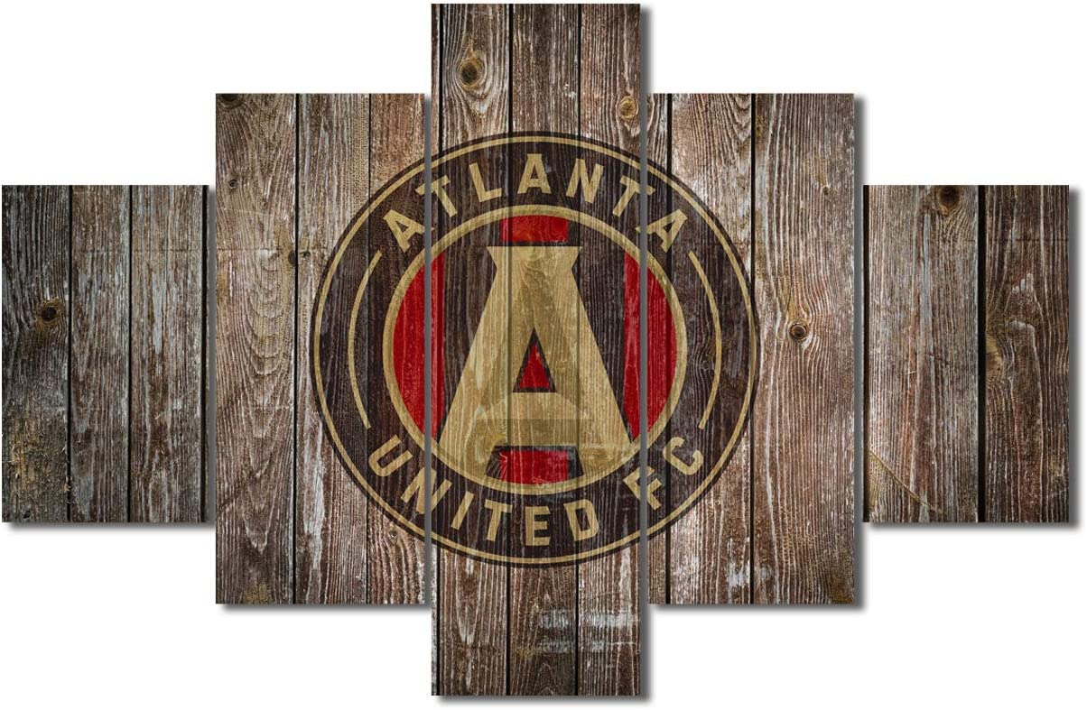 5 Pcs FC Logo Canvas Wall Art for Living Room Atlanta Print Photo Artwork Home Decor - American Major League Soccer USA Wooden Picture Stretched and Framed Ready to Hang - 60''Wx40''H