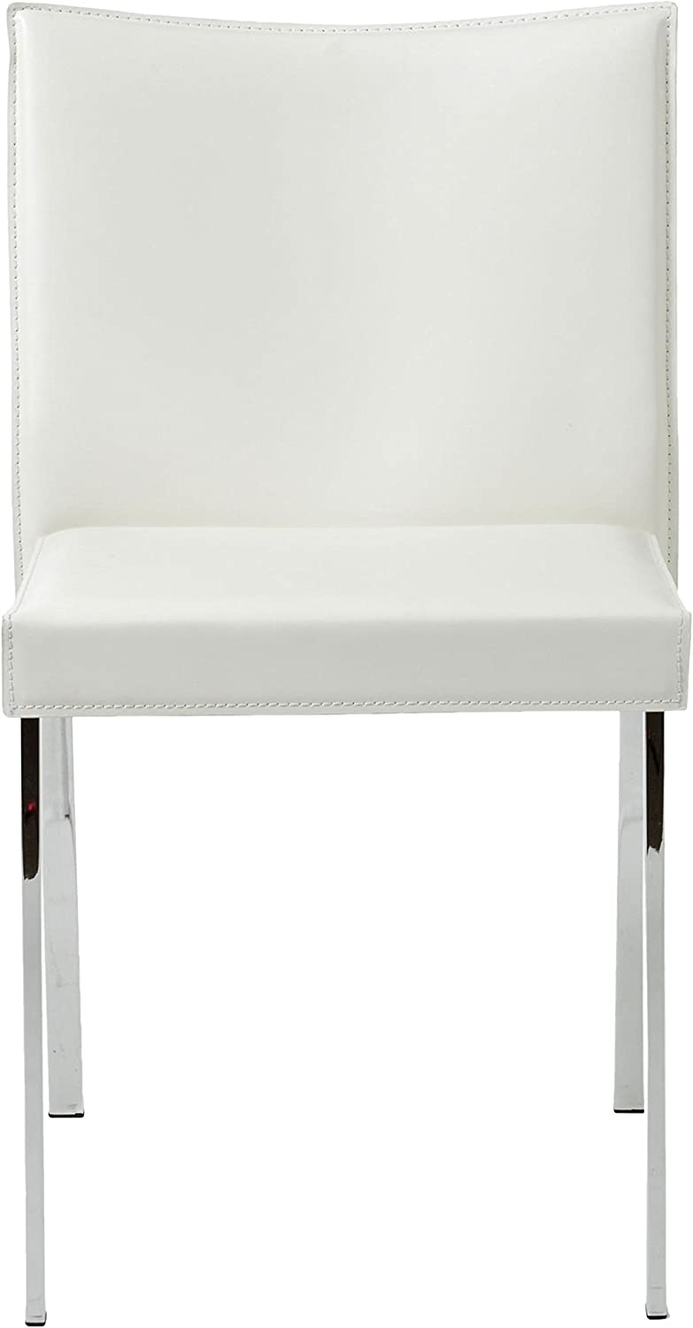 Eurø Style Riley Retro Modern Leather Side Dining Chair with Chromed Steel Base, Set of 2, White