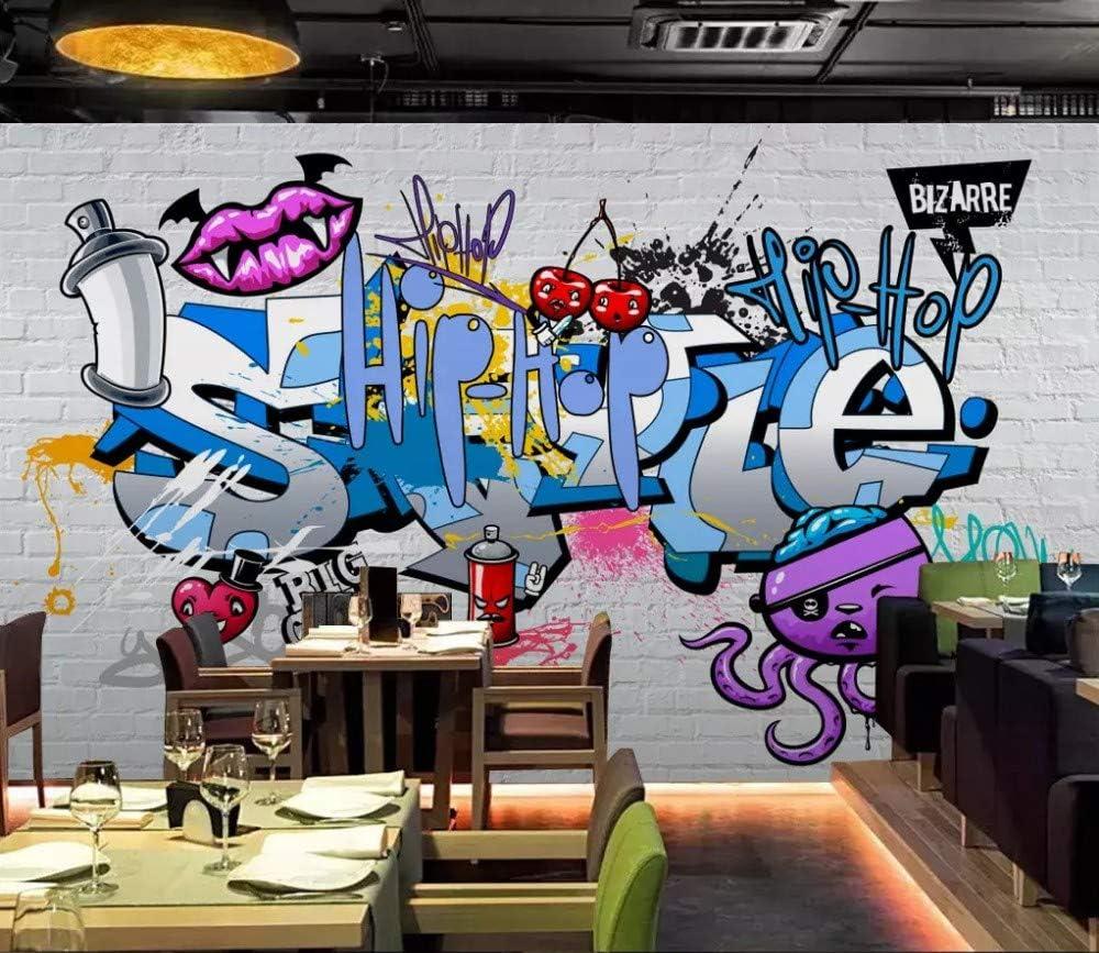 Mural Wallpaper 3D Street Painted Bar Graffiti Plate