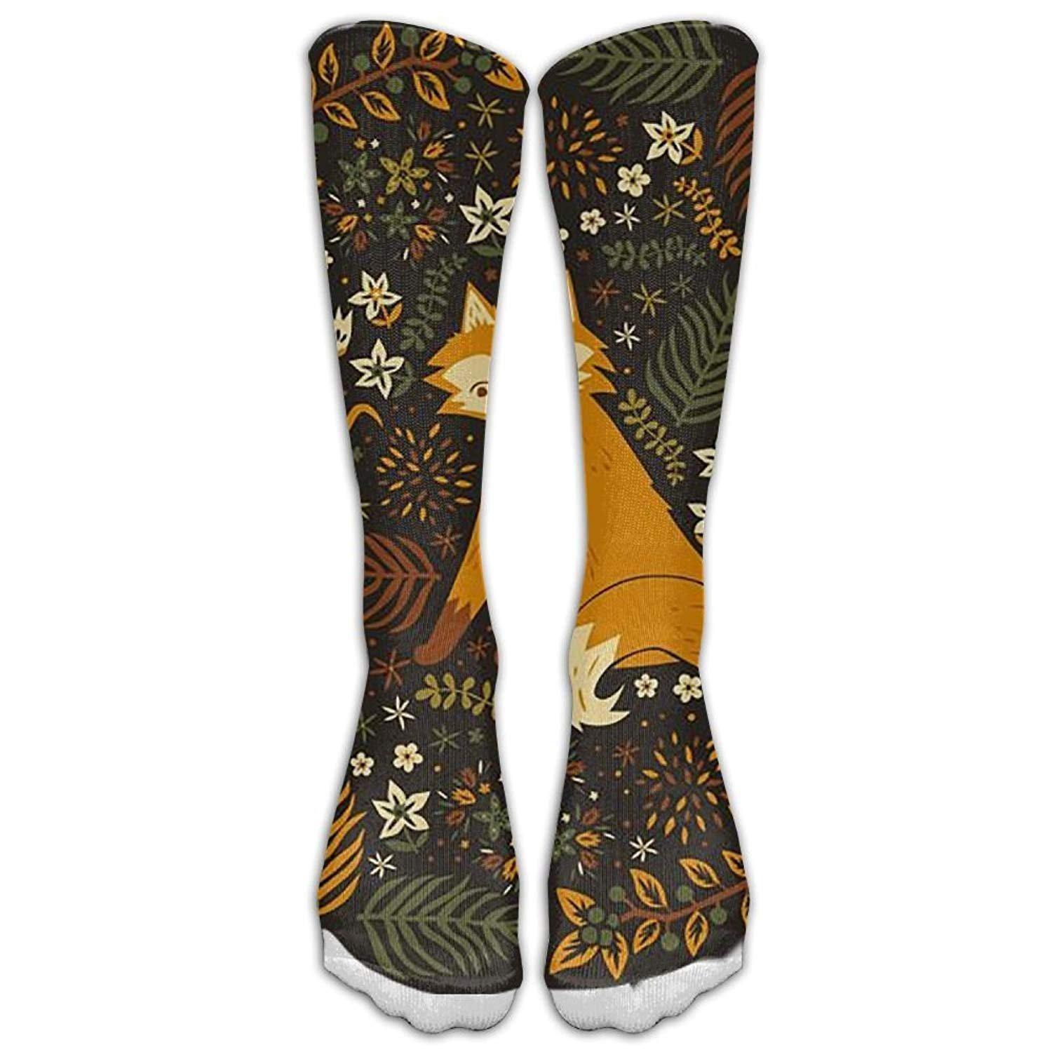 Womens Autumn Fox Printed Sock Over Knee High Boots Girls Long Socks