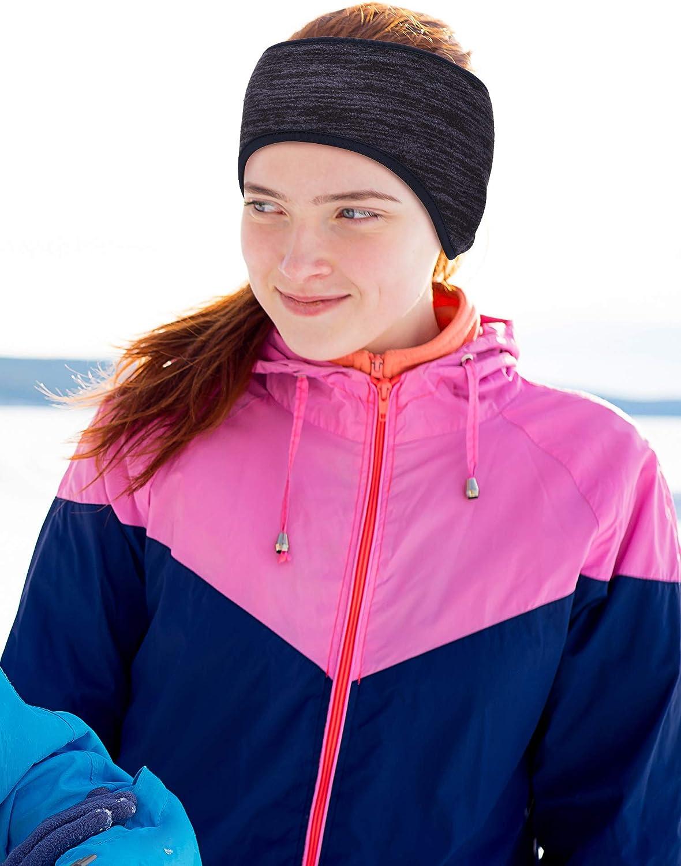 3 Colors Blulu 3 Pieces Ponytail Headband Women Winter Headband Ear Warmer Running Headband for Women Girls Outdoor Sports