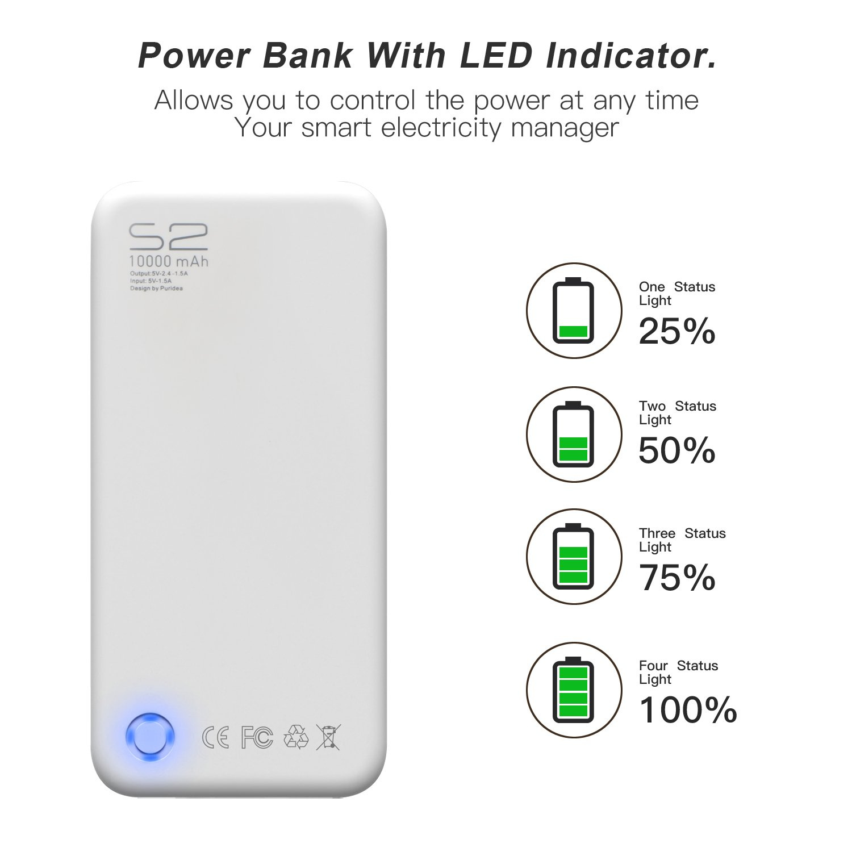 Gulake 10000 mAh Powerbank- Batería Externa Power Bank, Cargador Portátil, Extra Compacto(Negro): Amazon.es: Electrónica