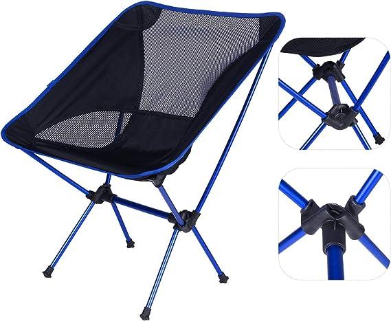 WOLTU Silla de Camping Silla Plegable Ultraligera y Portátil con Bolsa de Transporte, Silla para Acampar Fácil Transporte, para Playa,Senderismo,Pesca ...