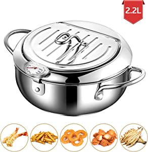 Stainless Steel Tempura Deep Fryer Pot With Thermometer And Oil Drip Rack Lid for Chicken French Fries Fish and Shrimp Oil Frying Pan (2200 ML)