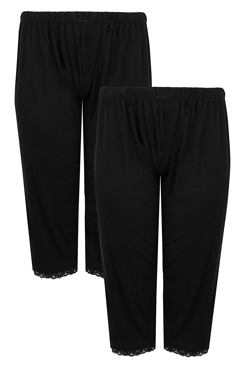 Yours Clothing Womens Plus Size Crop Pyjama Bottoms Pack of 2